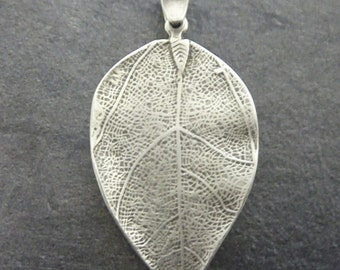 1 Pc. leaf nature forest spring Zamak Pendant, antique silver (plated with 925'er sterling silver 5,5 Mikron ) P85 Made in Europa