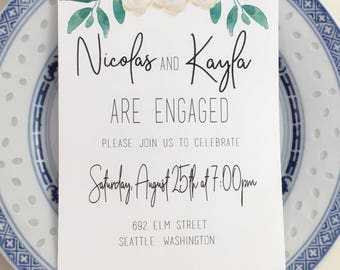 Printable Peony Garden Engagement Party Invitation