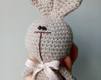 BUNNY/stylish bunny/rabbits/amigurumy/Easter/Australia/toy/crochet/doll/interior toy/cute animal/beige/pink