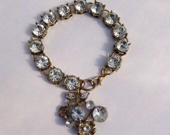 Vintage Assemblage Clear Rhinestone Bracelet, Free Shipping
