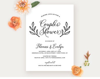 Couples Shower Invitation Template, Printable Wedding Shower Invite, Bridal Shower, Jack and Jill, Instant Download, Editable PDF #027-124BS