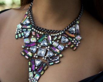 Multi-Colored Crystal Statement Necklace