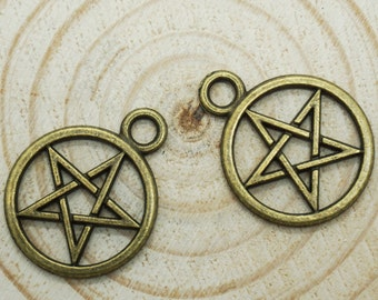 Star Charms -20pcs Antique Bronze Empty Stars Charm Pendants 25mm x 20mm (501-16)