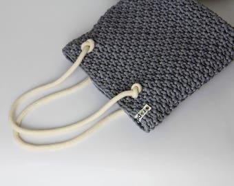 Grey crochet bag, grey beach bag, grey summer bag, grey knit bag, Rope bag, grey bag, Summer bag