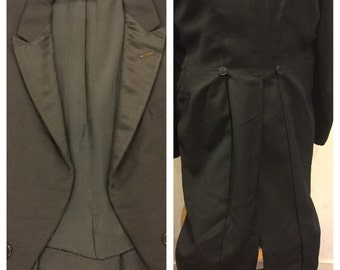 Vintage Black Tuxedo Jacket with Tails