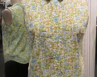 1960s Sleeveless Summer 100% Cotton Peter Pan Blouse