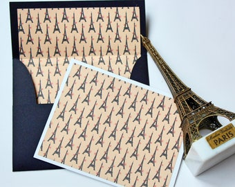 Blank Note Cards, Note Cards, Blank Stationery, Lined Envelopes, Handmade Cards,  A2 Envelopes, Cards, Paris Theme Card
