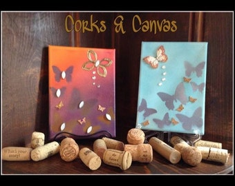 Butterfly Canvases with cork and jeweled embelishments.