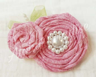 Clarice's Pink Rose Duo Hair Piece