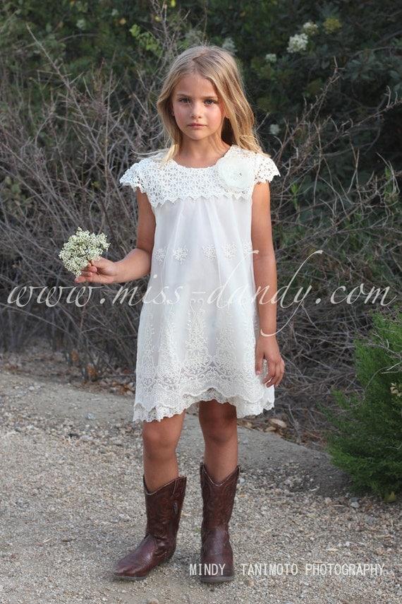 Ivy Dress- Crochet & Lace Flower Girl Dress, Ivory / Champagne Boho Bohemian Flower girl,Romantic Flower Dress Wedding dress, Country Rustic