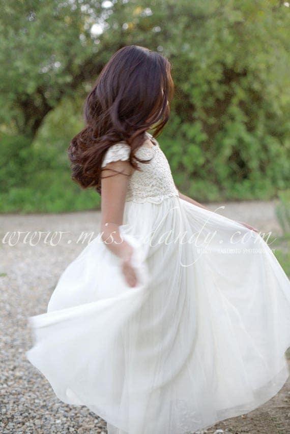 Rustic Flower Girl dress, Mia Dress Floor Length Dress,Boho Lace Crochet Flower Girl Dress,Ivory Bohemian Boho Floor Length girl girls Dress