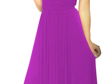 Convertible/Infinity Dress in  magenta color floor length with long straps