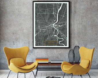 HARTFORD Connecticut City Map Hartford Connecticut Art Print Hartford Connecticut poster Hartford map art United States of America Jack
