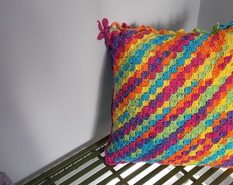 "Large Square Crocheted Cushion 20""x20"" (50cmx50cm) approx. Highly Decorative, with a Vibrant Removable Cover"