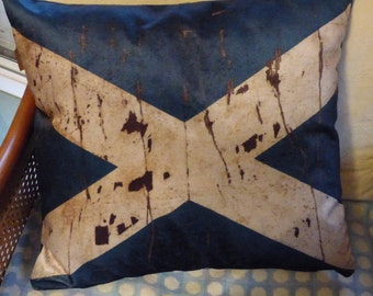 Scottish flag cushion cover for 50 cm pad.  Velvet cushion front with Saltire/St. Andrews cross. Simple navy back with zip at the bottom.