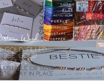 Friendship Bracelet / Custom String Bracelet / BFF Bracelet / Bestie Bracelet / Rose Gold Filled / Secret Message / Custom Name Word
