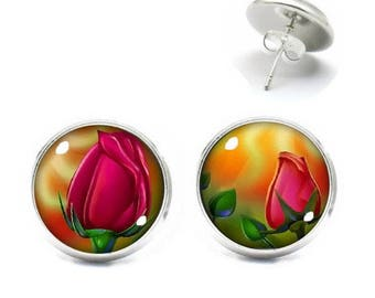 Cabochon jewelry earrings cabochon 14 mm Red Rose Bud