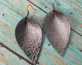 Inverted teardrop leather earrings, gunmetal leather inverted teardrop earrings, metallic gunmetal leather earrings