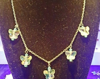 Clear Glass Butterfly Necklace with Blue Accents