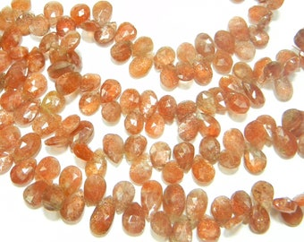 8 inch strand-- 9x12 - 10x15 mm approx-- Fine Quality Sunstone Faceted Pear Briolettes