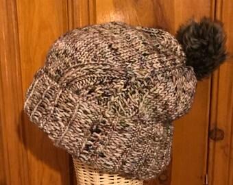 Merino Wool Hand Knit Slouchy Winter Hat with Faux Fur Pom Pom