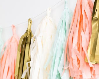 Mint, Coral, Gold and Ivory Tassel Banner / Tassel Banner / Banner / Birthday Banner / Party Decor/ Mint and Coral
