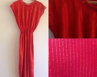 Vintage red boho dress 70s 80s