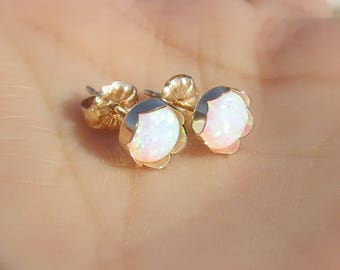 OPAL Stud Earrings, White Opal, Gold Opal Posts, Statement Earrings, Opal Jewelry, Opal Stud Earrings in 14K Gold Filled, Bridesmaid Gift.