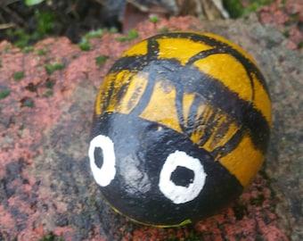 Bumblebee decoration - decorative pebble - handpainted pebble - plant pot decoration - paperweight  bee - bumblebee pebble - honey bee