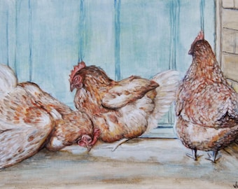 Custom Hen/Chicken Portrait-British Hen Welfare Trust BHWT 50% Donation. Great Birthday Present, Paper Anniversary