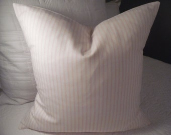 Soft Pink TICKING.white.stripes.Nursery.Girls Room.Sunroom.Valentines.Home Decor.Pillow Covers.Valentines Decor.farmhouse.Slip Covers.