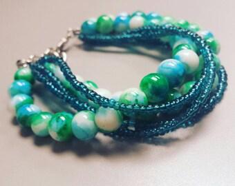 Blue green beaded bracelet, blue and green beads, glass beads, beaded jewelry, beaded bracelet, teal bracelet,