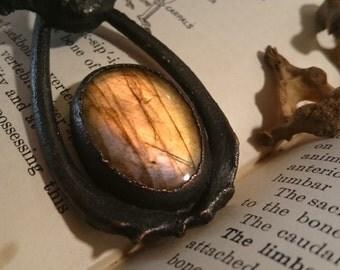 Labradorite and Real Bone Blackened Copper Pendant
