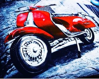 RED Vespa Scooter Retro Wall Art Canvas