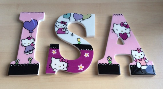 Wall wooden letters hand-painted