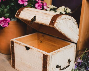 Wood Trunk Storage Box With Lid Jewelry Rustic Living Kids Room Shabby Chic Home Decor Wedding Money Box  Wood Birthday Gift Box