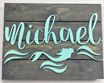 Mermaid Sign, Mermaid Nursery,Baby sign, Nursery Name Sign, Girls Name Sign, Mermaid wood sign, Baby Nursery Decor, Rustic Sign