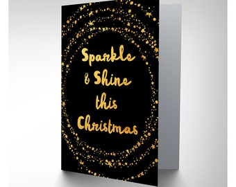 Christmas Card   Sparkle And Shine Gold Blank Xmas Card CP3121  Blank Xmas Cards