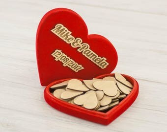 Wedding guest book alternative - heart-shaped velvet box with wooden hearts for the inscriptions - custom photo engraved