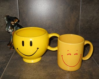 Vintage Smiley Face Coffee Mugs, Wake Up with a Smile Every Day