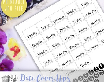 Date Cover Ups - PRINTABLE Functional Stickers for HAPPY PLANNER