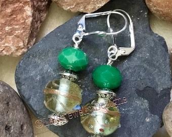 Lampworks Green and Jade Earrings