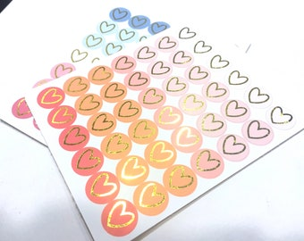 Foil HEART icon stickers Foiled planner stickers