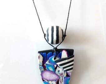 OOAK Intergalactic handmade Polymer clay necklace