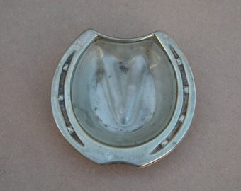Ashtray - Silver Plated/EPNS - Horseshoe Shaped - Distressed/Worn/Shabby Chic - Vintage Silverplate