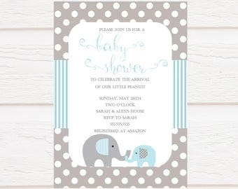 Elephant - Blue and Grey - Baby Shower Invitation - Baby Boy - Personalized - Printable