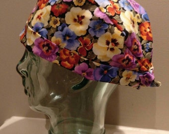 Pansies flowers OR hat, scrub hat, surgical hat, pixie chemo hat, scrub cap, floral women's scrub hat with ties, pixie tie back scrub hat