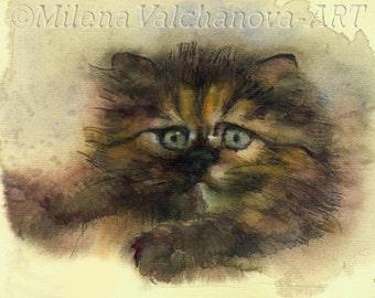 Persian cat,   longhaired kitten ,for her ,  Cat art PRINT of watercolor painting  Cat PRINT art cat artwork cat decor wall Longhair Cat,