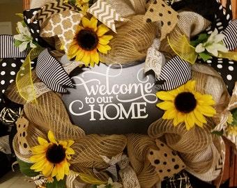 Welcome to our home wreath, burlap wreath,  sunflower wreath, mesh wreath