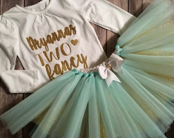 Im two fancy birthday tutu outfit/ can customize colors and saying on shirt